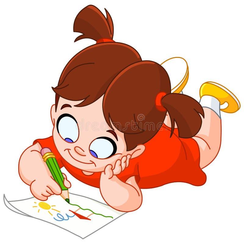 Zeichnung des kleinen Mädchens lizenzfreie abbildung