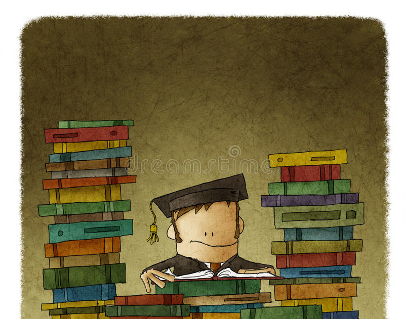 Zeichnung des Mannes umgeben mit Büchern vektor abbildung