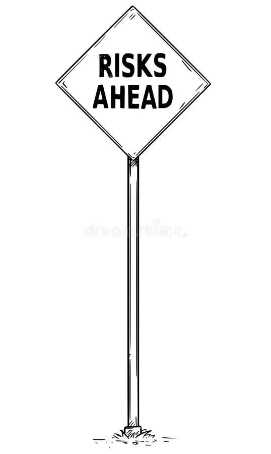 Zeichnung des Pfeil-Verkehrszeichens mit Risiko-voran Text lizenzfreie abbildung