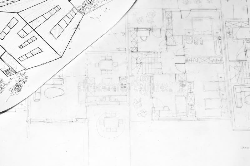 Zeichnung eines Hauses und der Architekturpläne lizenzfreie stockbilder