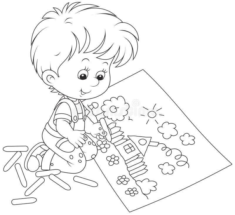 Zeichnung eines Vaters und des Sohns lizenzfreie abbildung