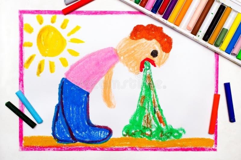 Zeichnung: Erbrechender Mann Ein Zeichen der Lebensmittelvergiftung oder der Effekt des Trinkens des Alkohols lizenzfreie stockfotos