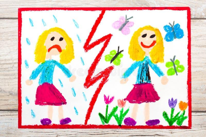 Zeichnung Gegenteile: trauriges und glückliches Mädchen stock abbildung