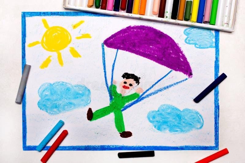 Zeichnung: Im freien Fall springen Fallschirmspringen lizenzfreie stockfotos