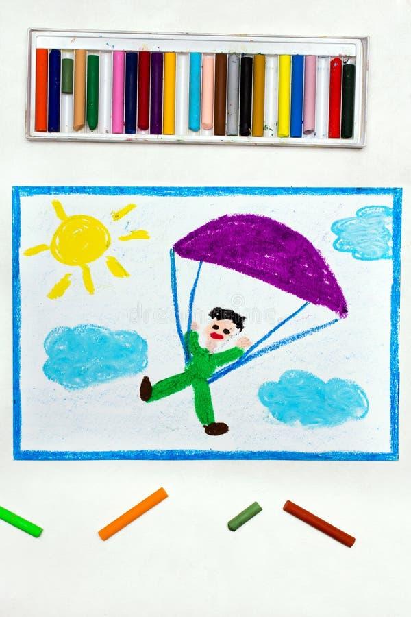 Zeichnung: Im freien Fall springen Fallschirmspringen stockfoto
