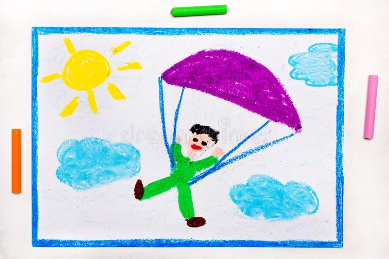 Zeichnung: Im freien Fall springen Fallschirmspringen lizenzfreie stockfotografie