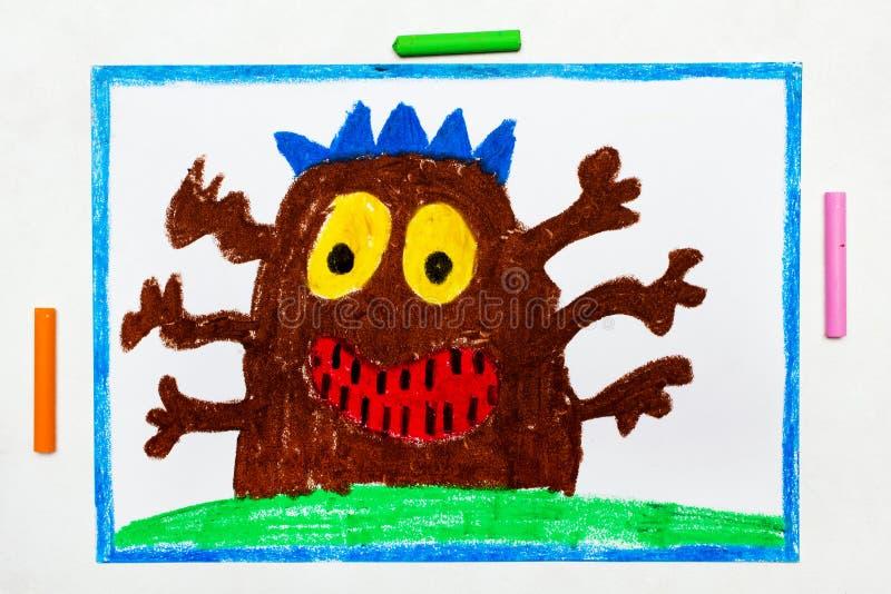 Zeichnung: Nettes braunes Monster mit sechs Händen lizenzfreie abbildung