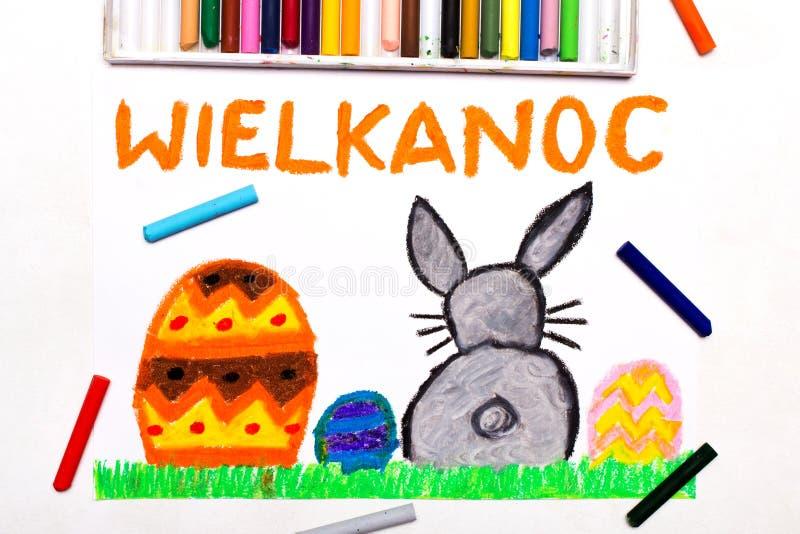 Zeichnung: Schöne polnische Ostern-Karte mit Ostereiern und nettem Häschen lizenzfreie stockfotografie