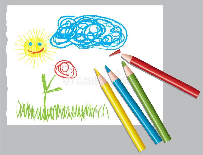 Zeichnung Und Farbige Bleistifte Des Kindes Stockfotografie