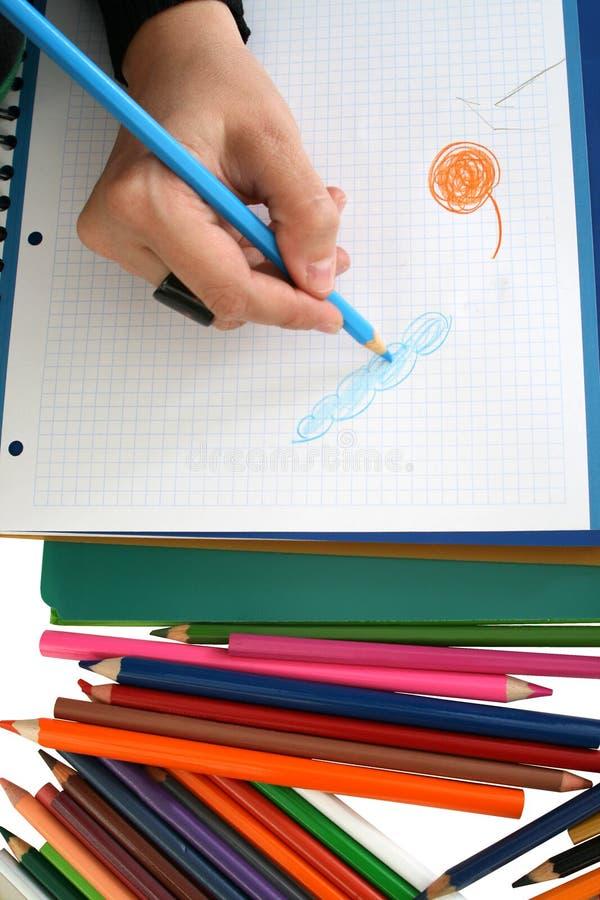 Zeichnung und Zeichenstifte stockbilder