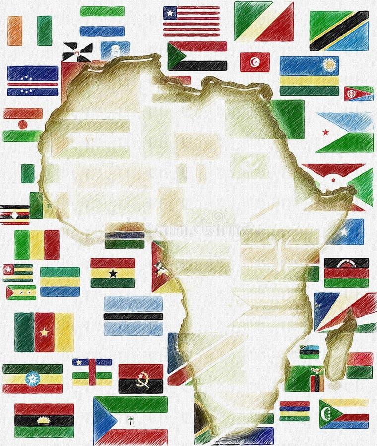 Zeichnung von Afrika-Karte und -flaggen lizenzfreie abbildung
