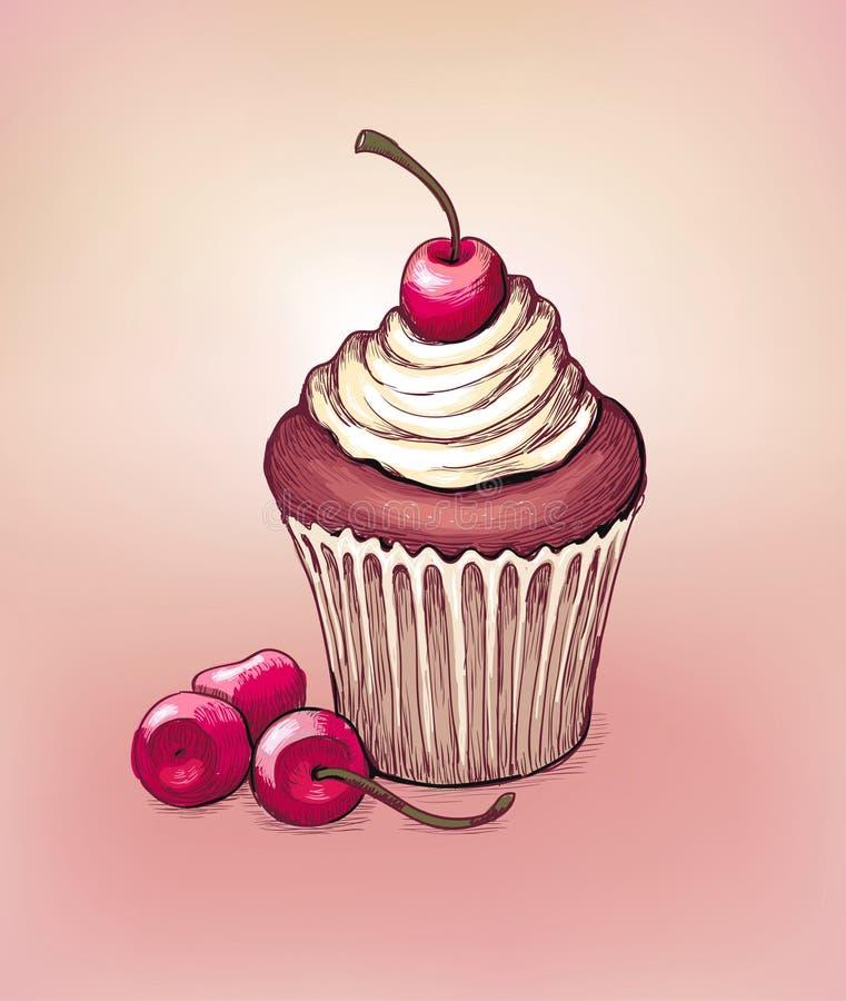 Zeichnung von cupkace und von Kirsche stock abbildung