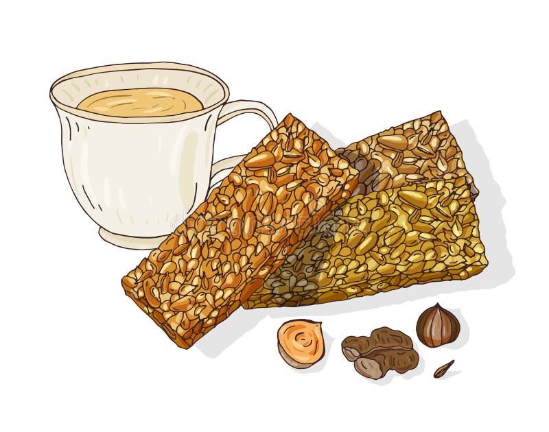 Zeichnung von Gozinaki und Tasse Tee Köstlicher georgischer Nachtisch gemacht von karamellisierten Nüssen Traditioneller kaukasis stock abbildung