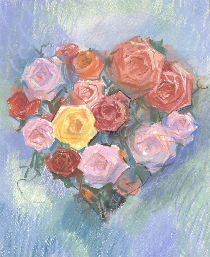 Zeichnung von Herz-förmigen Rosen durch Pastell lizenzfreie abbildung