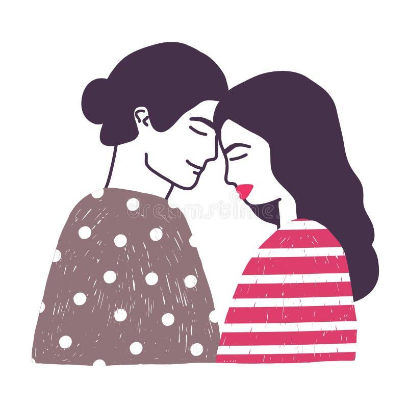 Zeichnung von netten jungen romantischen Paaren oder von Paaren des Mannes und der verliebten Frau Die Freund- und Freundinhand u stock abbildung