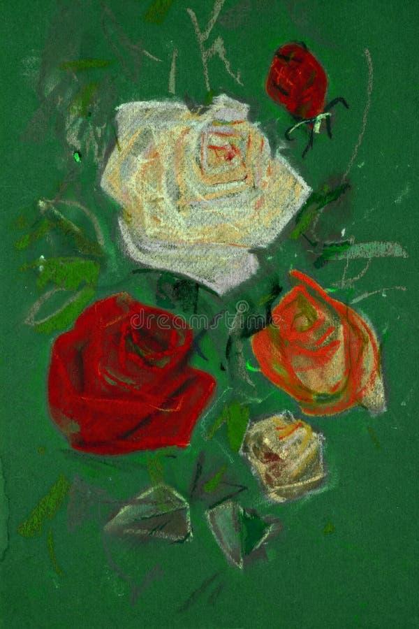 Zeichnung von Rosen durch Pastell lizenzfreie abbildung