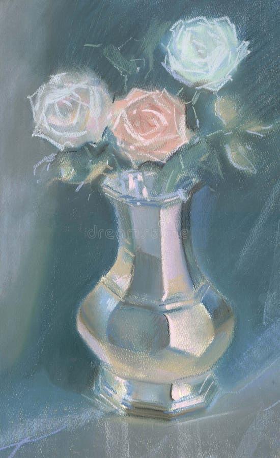 Zeichnung von Rosen in einem Vase durch Pastell lizenzfreie abbildung