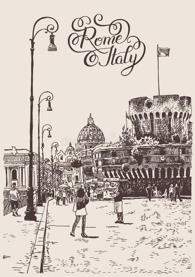 Zeichnung von Stadtbild mit Festung von Sant'Angelo in Rom, Italien lizenzfreie abbildung