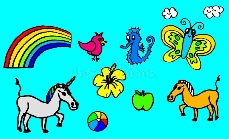 Zeichnungen über Hobbys mit einem Einhorn und einem Schmetterling für die Kinder auch verfügbar als Vektorzeichnung lizenzfreie abbildung