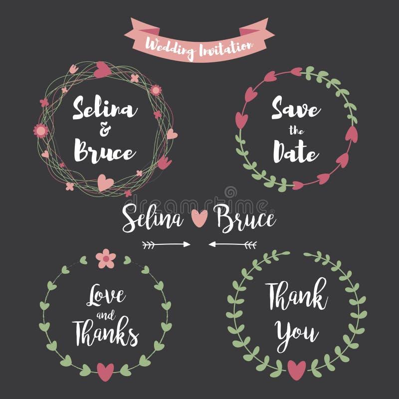 Zeichnungen auf weißem Hintergrund Satz des Blumenrahmens für Thank Sie kardieren, stock abbildung