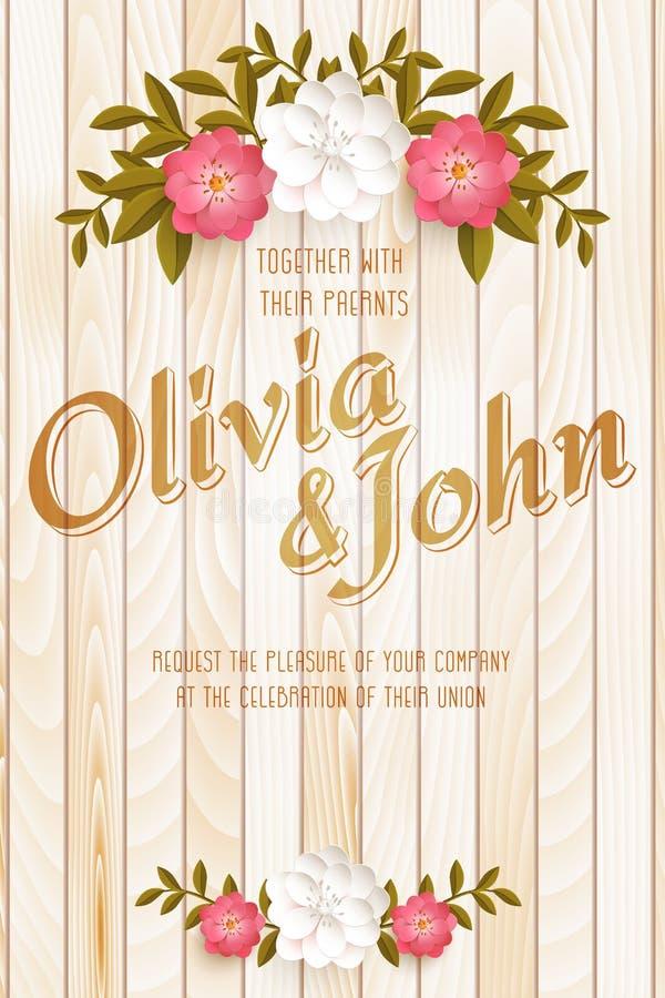 Zeichnungen auf weißem Hintergrund Vector Einladungskarte mit eleganten Blumenelementen mit Text auf hölzernem Hintergrund stock abbildung