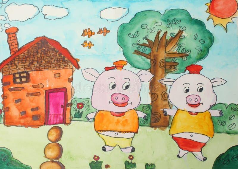 Zeichnungen der Kinder stock abbildung