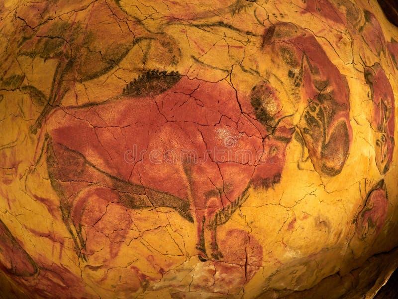 Zeichnungen von der Decke von Altamira höhlen in Santillana Del Mar, Kantabrien, Spanien aus stockbild