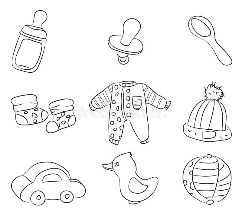 Zeichnungen von Kind-` s Sachen, Linien, Vektor stock abbildung