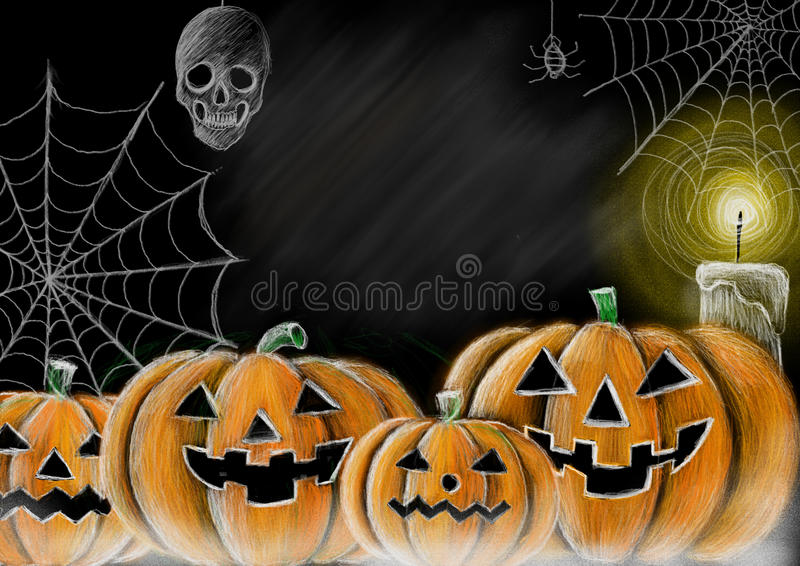 Zeichnungs-Halloween-Kürbis-, -spinnennetz-, -spinnen-, -schädel- und -kerzentafelart mit Kopienraum für Ihre Texte vektor abbildung