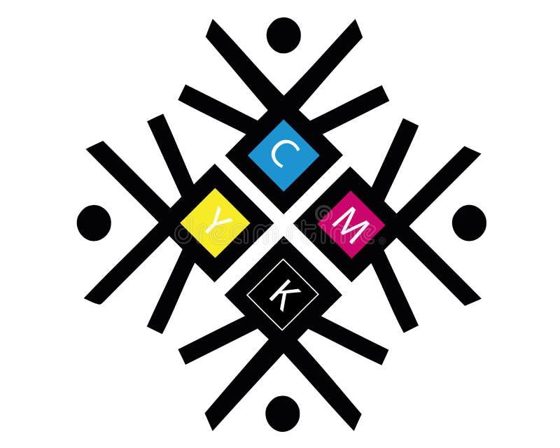 Zeichnungs-Logokonzept des Vektors CMYK CMYK-Ziel f?r Druckgesch?ft Drucktechnologieemblem Polygraphische Farben stock abbildung