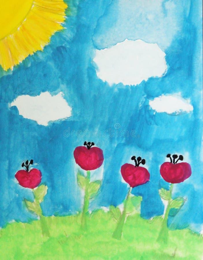 Zeichnungs-Sommerlandschaft des Kindes mit roten Blumen stockbild