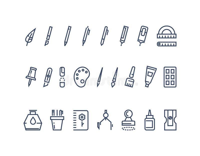 Zeichnungs- und Schreibenswerkzeuge Linie Vektorikonen eingestellt stock abbildung