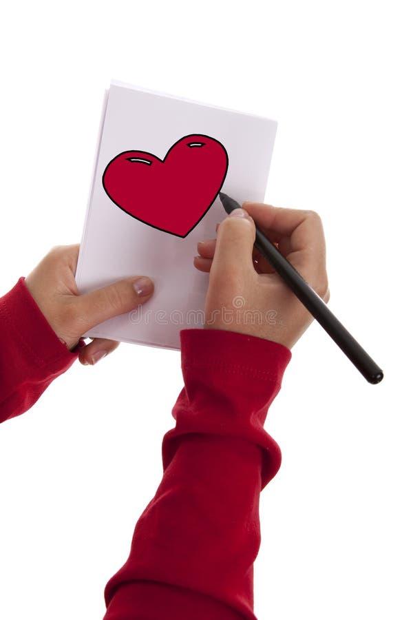 Zeichnungs-Valentinsgruß-Liebesinneres der jungen Frau stockbild
