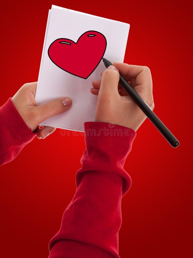 Zeichnungs-Valentinsgruß-Liebesinneres der jungen Frau stockfotos