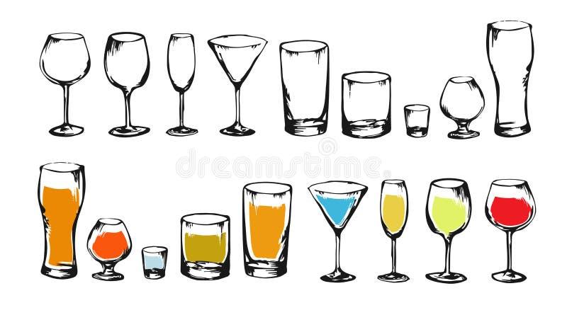 Zeichnungsalkohol trinkt Sammlungsskizze lizenzfreie abbildung