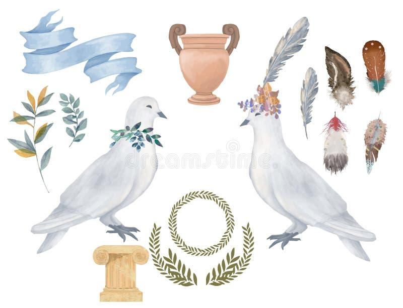 Zeichnungsaquarellvogel-Fliegenfrieden des Taubencliparts tauchte digitaler für die Heiratsfeierillustration, die auf weißem Hint vektor abbildung