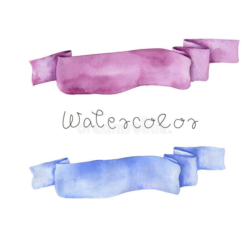 Zeichnungsgeburtstagsmalerei des Aquarellbandrosas Säubern-Feierillustration der blauen zeichnende handdrawn geometrisch auf weiß vektor abbildung
