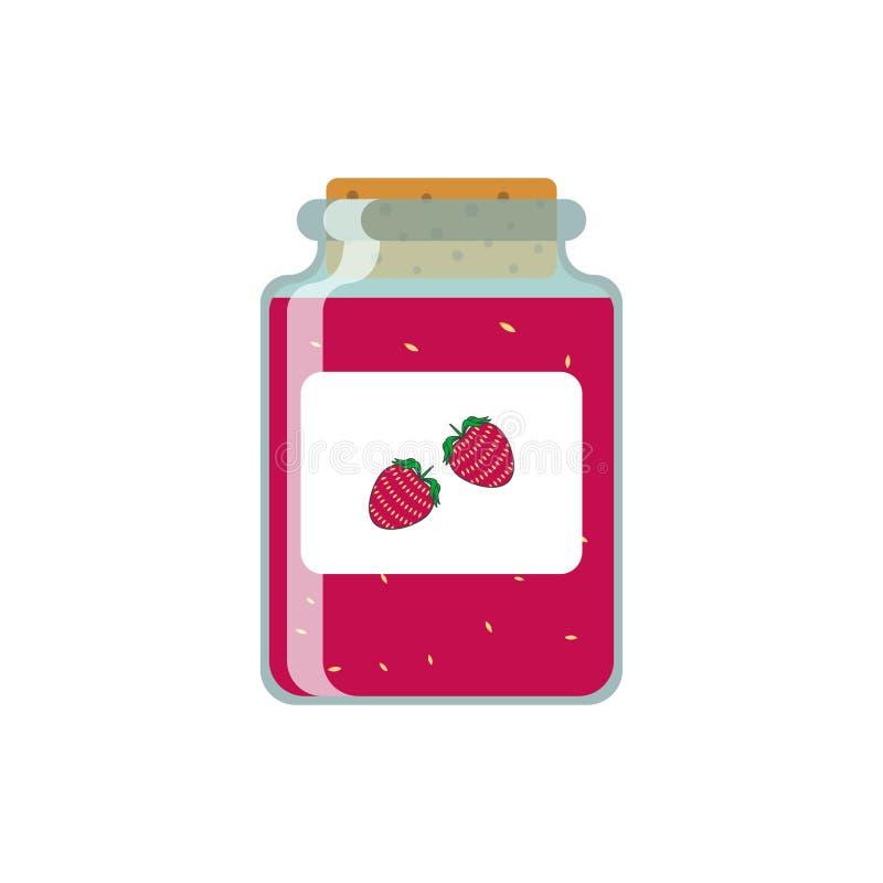 Zeichnungsgläser mit Erdbeermarmelade Vektorabbildung auf weißem Hintergrund lizenzfreie abbildung