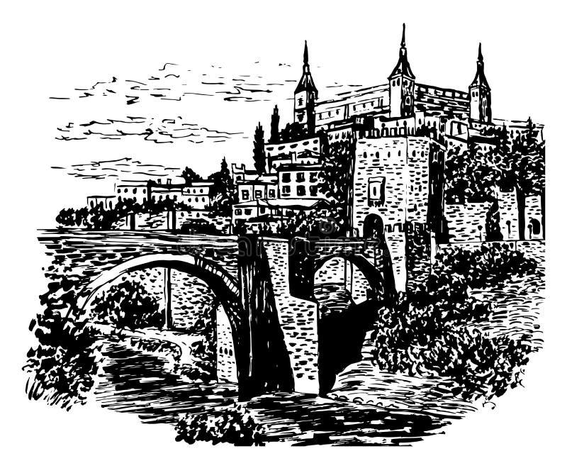 Zeichnungshintergrund-Landschaftsansicht von Toledo, Spanien lizenzfreie abbildung