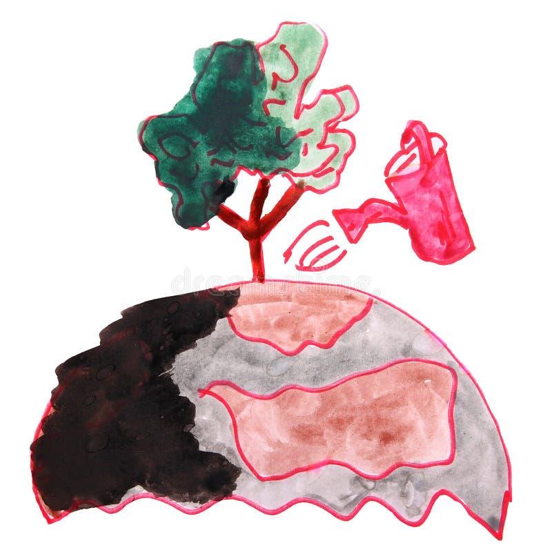 Zeichnungskinderaquarell-Naturschutzkarikatur auf einem Weiß vektor abbildung