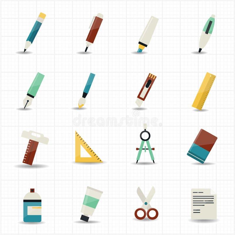 Zeichnungsmalerei bearbeitet Ikonen und Briefpapier vektor abbildung
