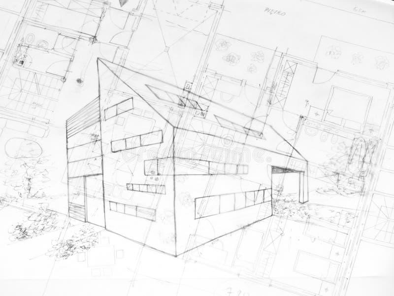 Zeichnungsod ein modernes Gebäude, Architektur plant stockbilder
