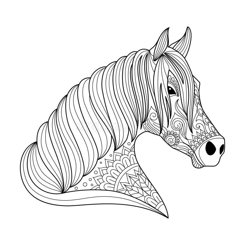 Zeichnungspferd-zentangle Art für Erwachsenen und Kindermalbuch, Tätowierung, Hemddesign, Logo, Zeichen stylized lizenzfreie abbildung