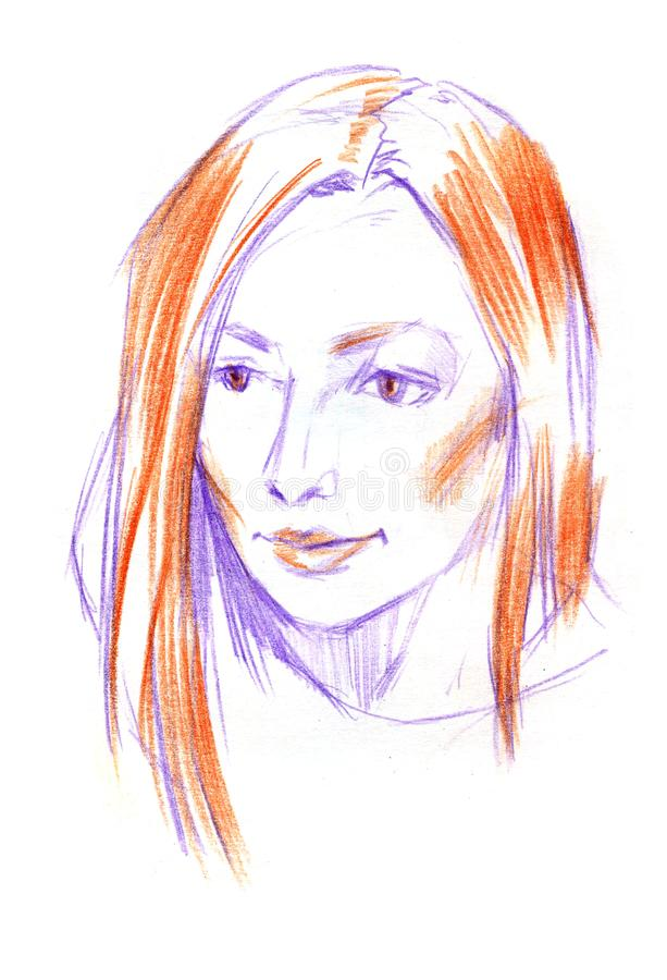 Zeichnungsporträt der jungen Frau Weibliches Gesicht Skizze des schönen Mädchens lizenzfreie abbildung