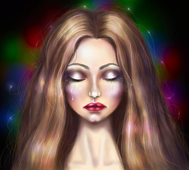 Zeichnungsporträt eines schönen Mädchens, das schreit lizenzfreies stockfoto