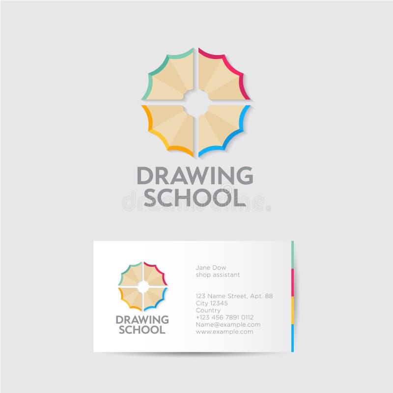 Zeichnungsschullogo und -identität Kreativitätsembleme Multi farbige Bleistiftschnitzel mögen eine Blume lizenzfreie abbildung