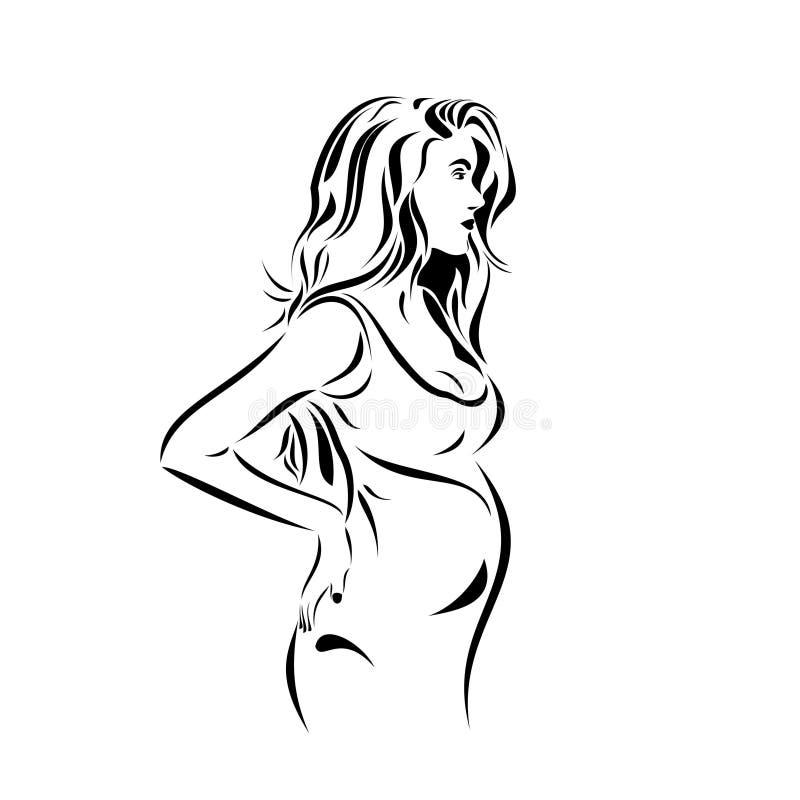 Zeichnungsskizzen-Schablonenfreier raum der schwangeren Frau lizenzfreie abbildung