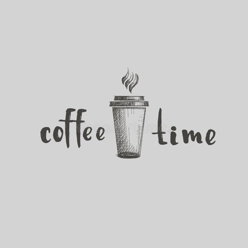 Zeichnungsvektorkaffee-Cafégetränk trinkt Wort-Kalligraphieschwarzes Restaurantlogocappuccino Latte lineares auf hellem Hintergru vektor abbildung
