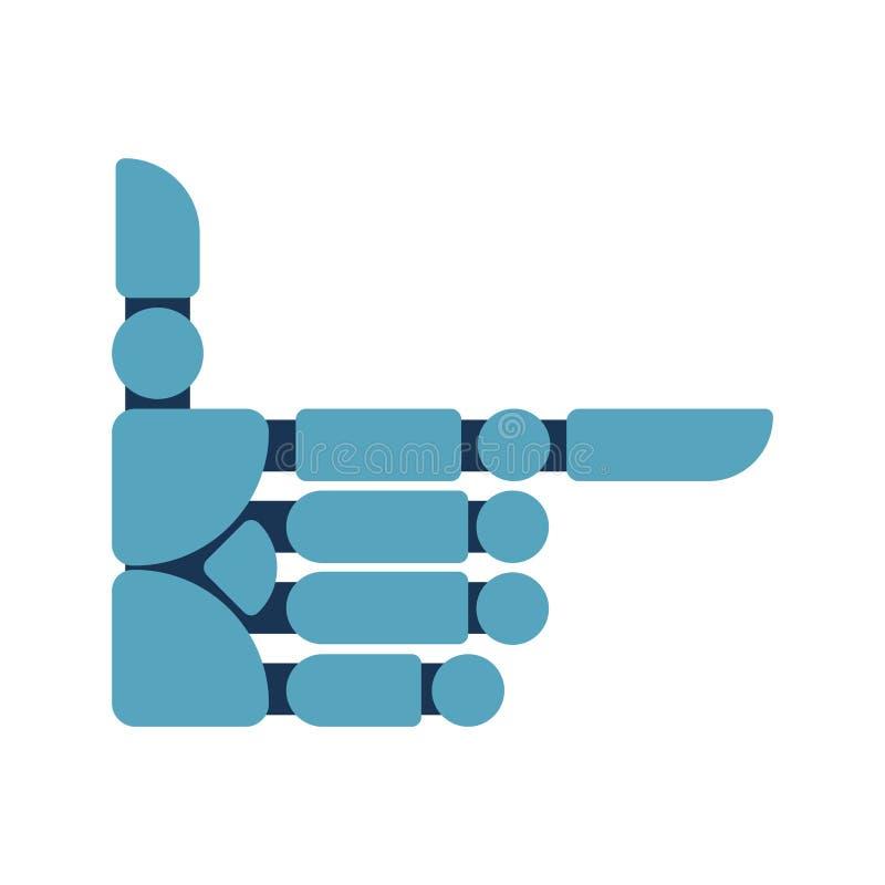 Zeigen der Cyborg-Hand Roboterhanddaumen vorwärts Vektor illustrat lizenzfreie abbildung