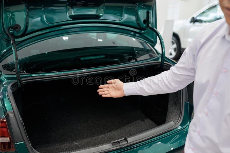 Zeigen des Autokofferraumes lizenzfreie stockbilder